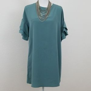 Zara sage colored  ruffle dress